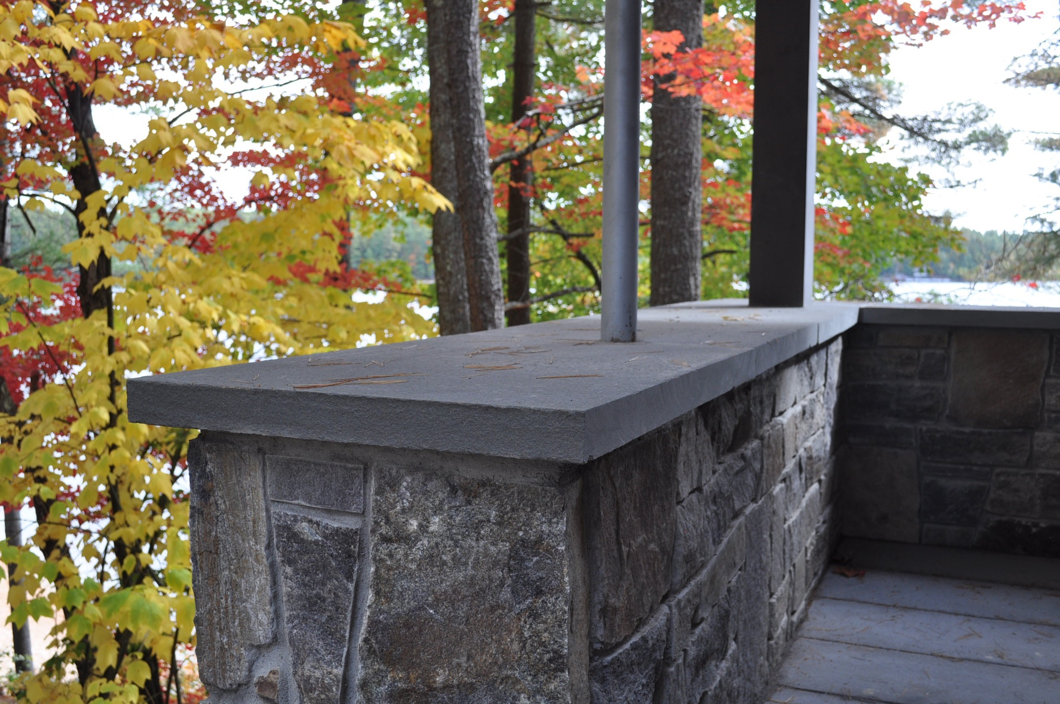 Stone Wall, bluestone cap, steel column, cedar post, Maine Architect