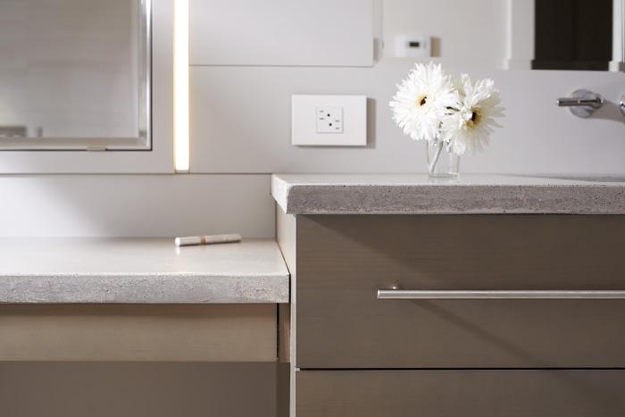 Concrete Counters, custom millwork, Maple cabinets, Maine Architect