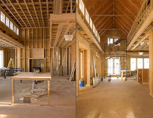 Wood framing, exposed fir beams, construction photo