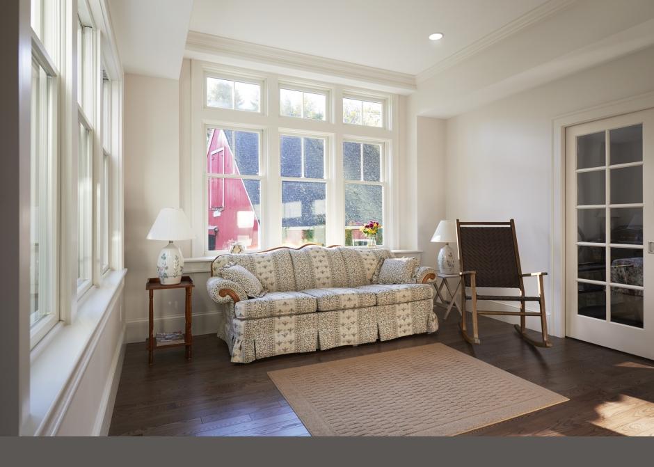 Bay window, Natural light, Living Room, Maine Architect