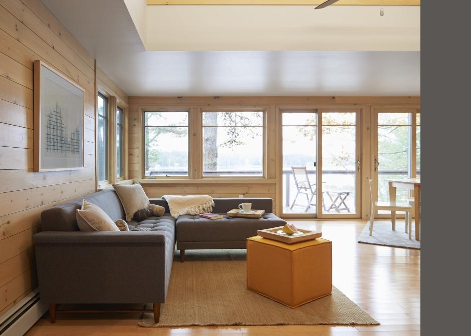 Living Room, Maine Architect, Furniturea sofa,  Nickel Gap pine