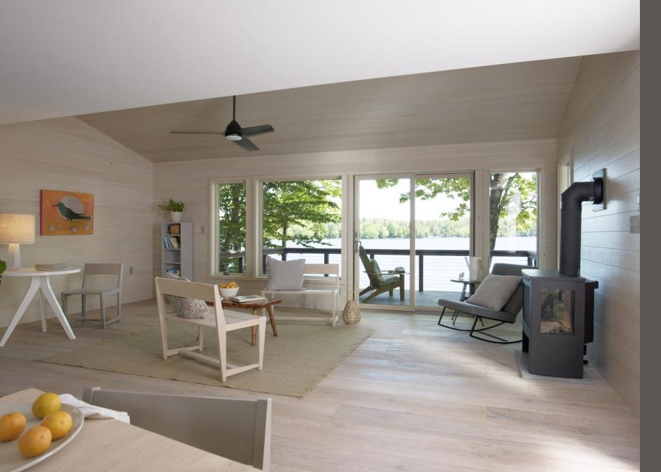Living Room, cathedral ceiling, nickel gap pine, stained pine, Furniturea, Wood floors