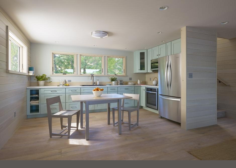 Kitchen, Martha Stewart Cabinets, Maine Architect