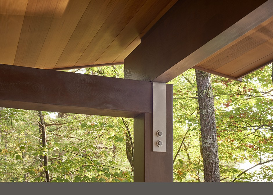 Timber detail, cedar beams, cedar ceiling, Maine Architect, Simpson hanger