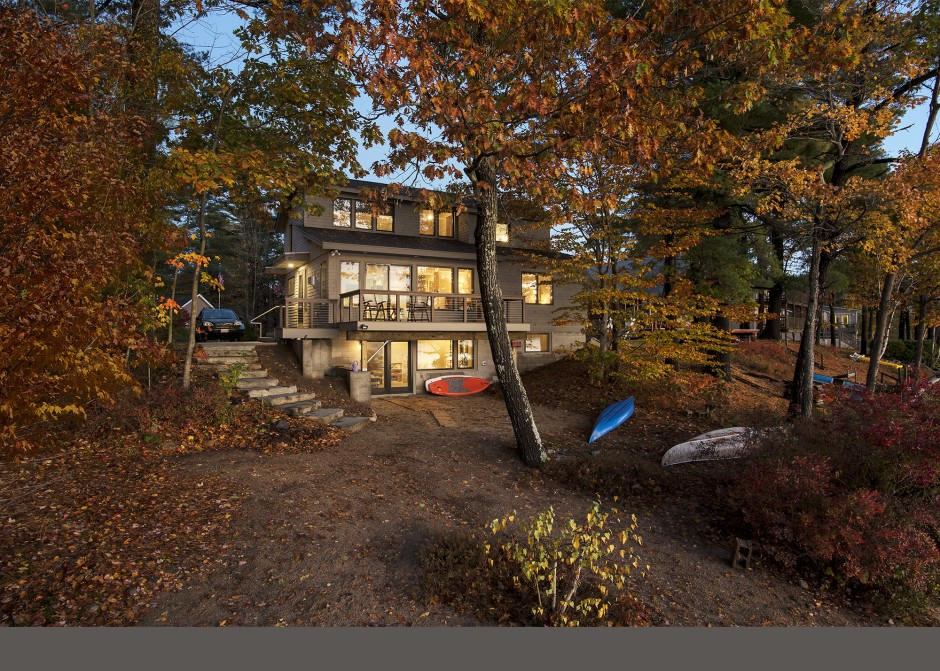 Lake front home, Andersen windows, lake front deck, Maine Architect, Lake home, daylight basement, waterfront home