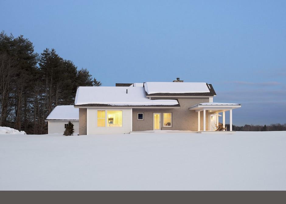 Winter House, cedar shingles, modern farmhouse, Maine Architect