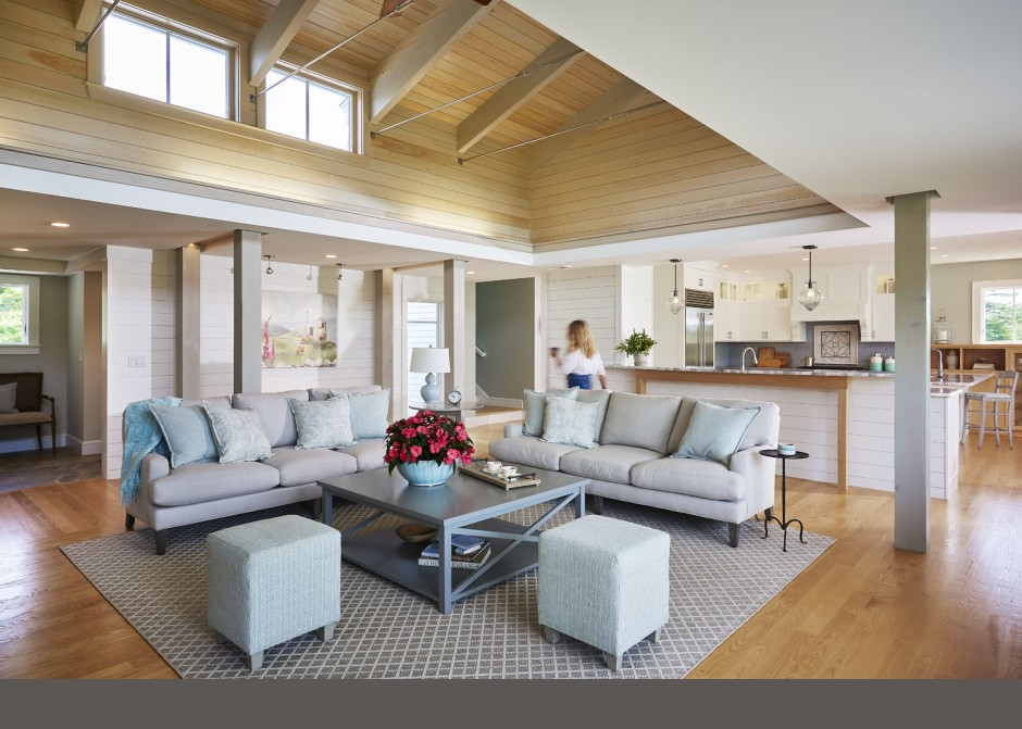 Living Room, wood ceiling, cathedral ceiling, uplighting, clerestory windows, Maine Architect