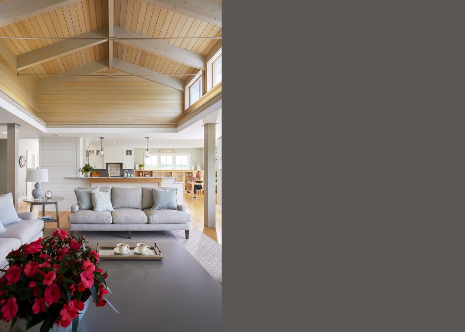 Living Room, wood ceiling, high windows, Maine Architect
