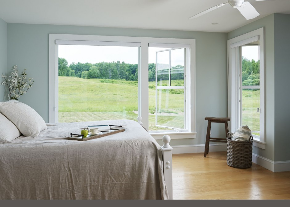 Master Bedroom, Large windows, Maine Architect, Andersen windows