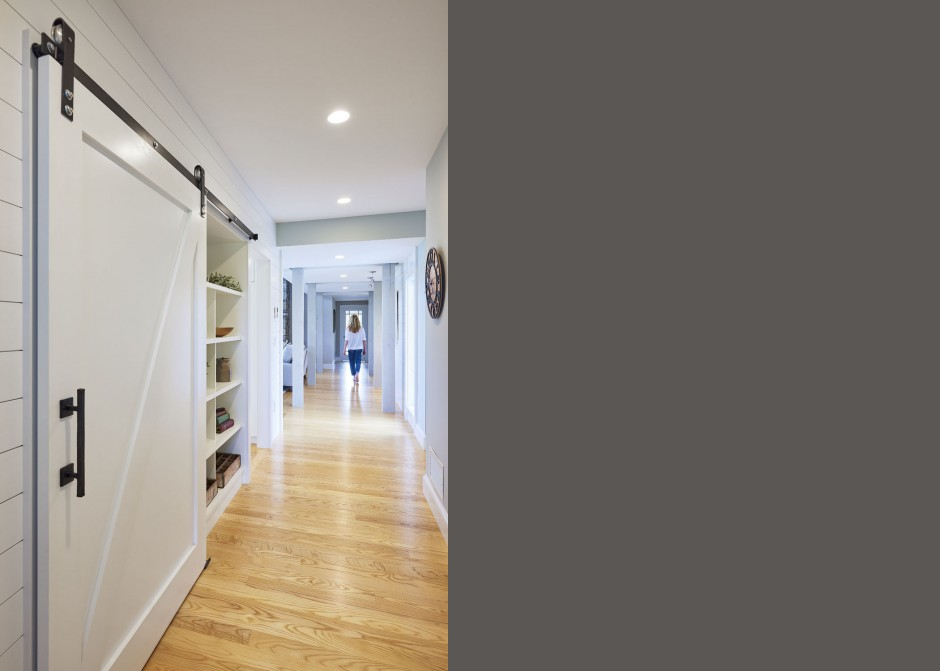 Hall, Sliding Barn Door, Ash floors, Maine Architect, Pantry storage