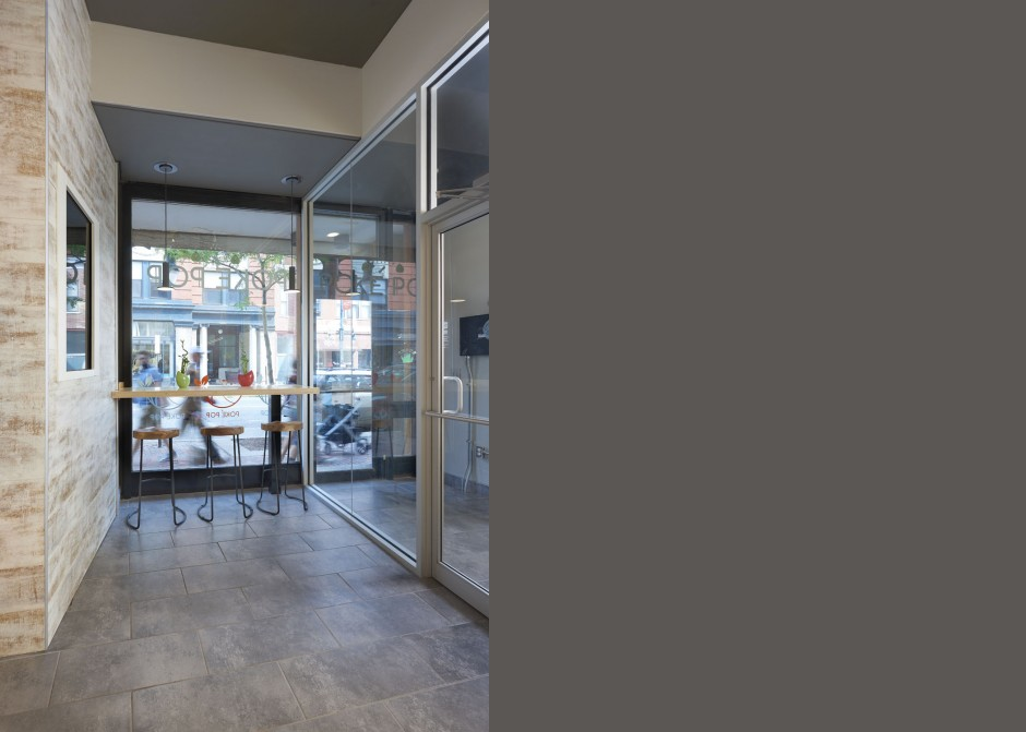 Storefront Glass Entrance, bamboo bar counter, LCD television, Maine Architect