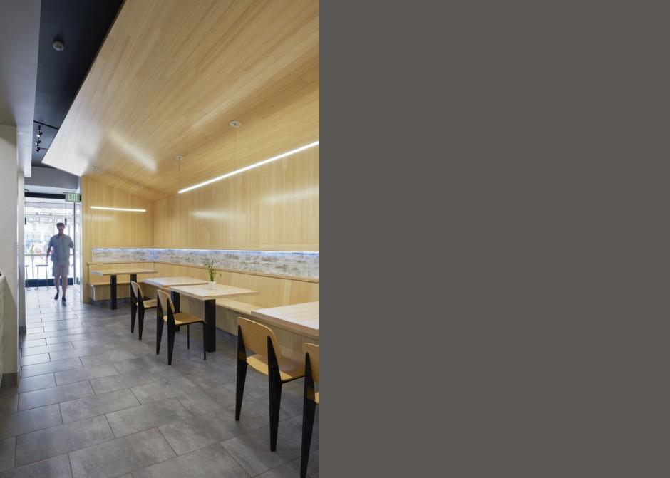 Custom bamboo tables, bamboo finishes, LED light strip, Floating ceiling, Maine Architect