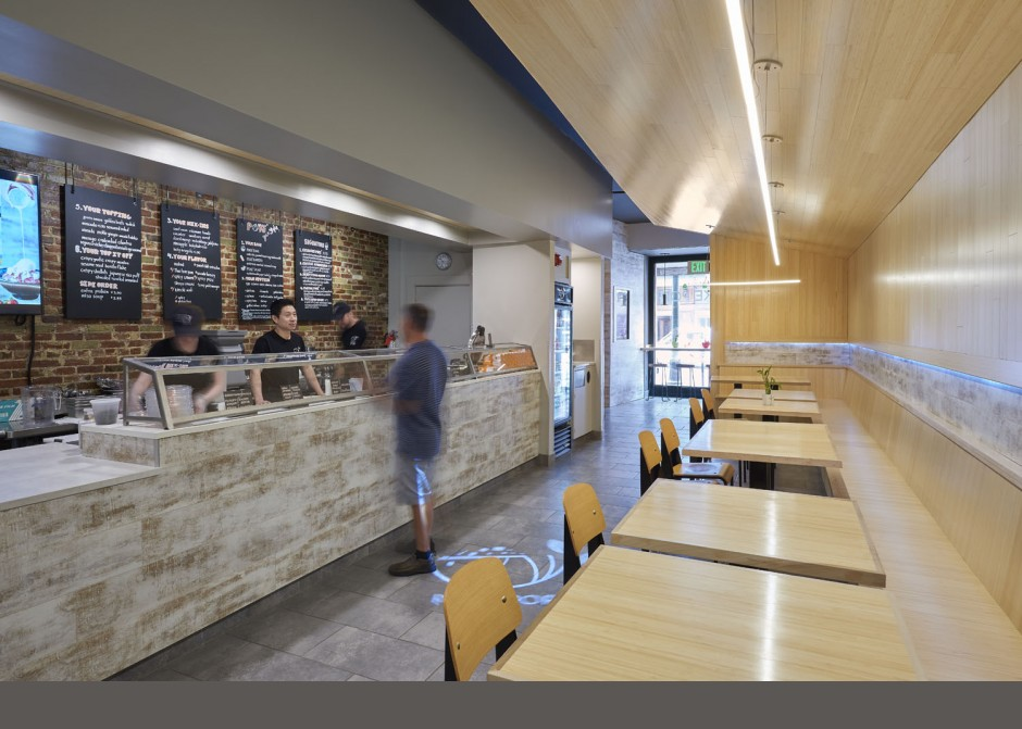Service counter, sneeze guard, LED light strip, bamboo tables, Maine Architect