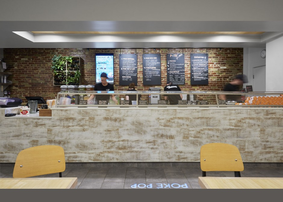 Service Counter, menu bar, sneeze guard, Maine Architecture