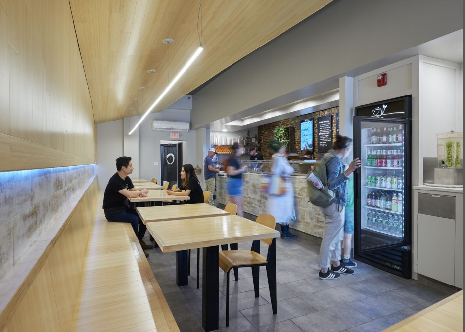 Seating, bamboo finishes, LED light strip, Maine Architect, Restaurant design