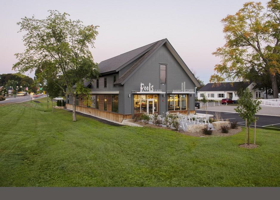 Kebony wood, Restaurant design, Maine Architect, Coffee Shop, Storefront windows, Architecture