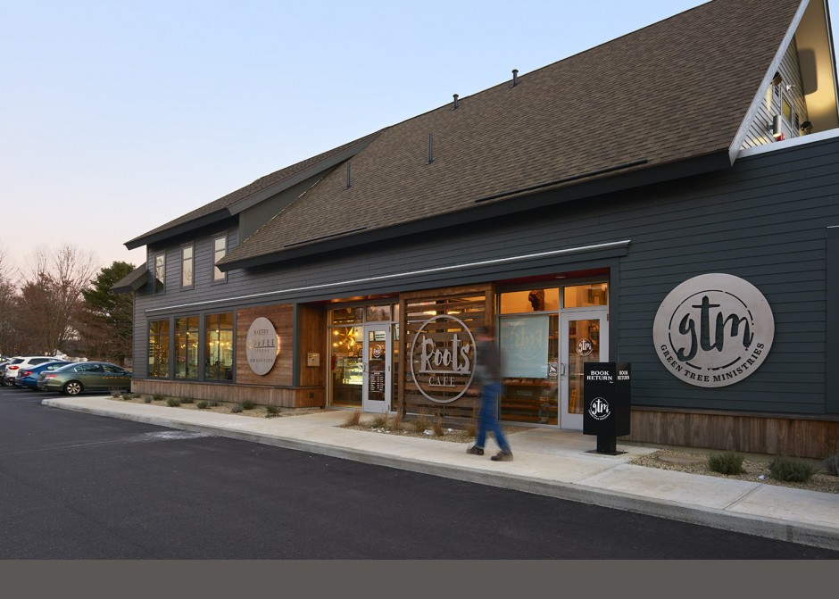 Bakery Entrance, Kebony wood, Restaurant design, Maine Architect, Coffee Shop, Storefront windows