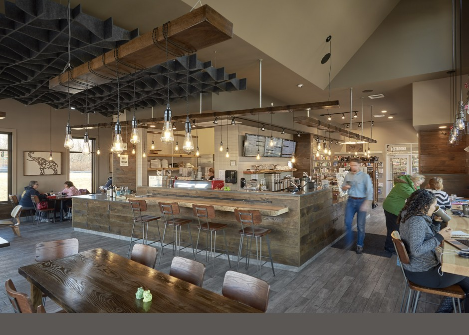 White oak wall finish, maine architect, restaurant interior, edison bulbs, custom lighting