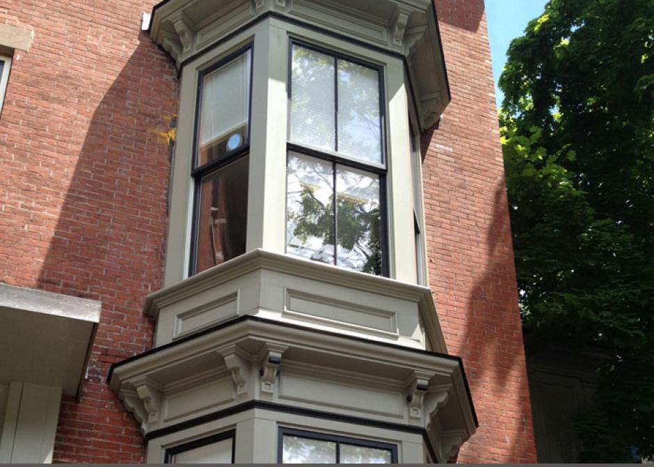 Original bay windows, historic building