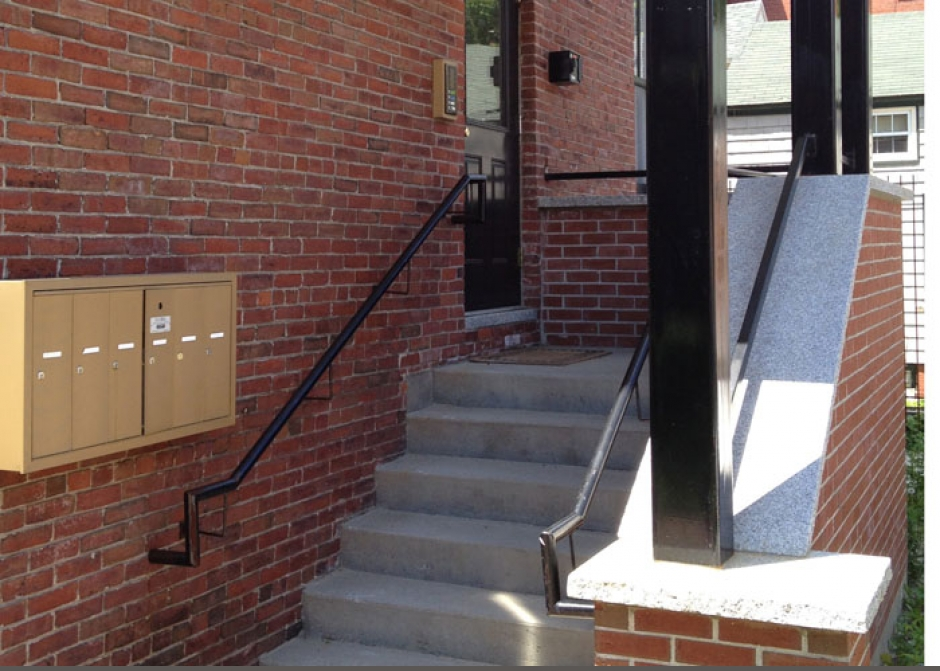 New rear entrance, apartment entrance, steel canopy