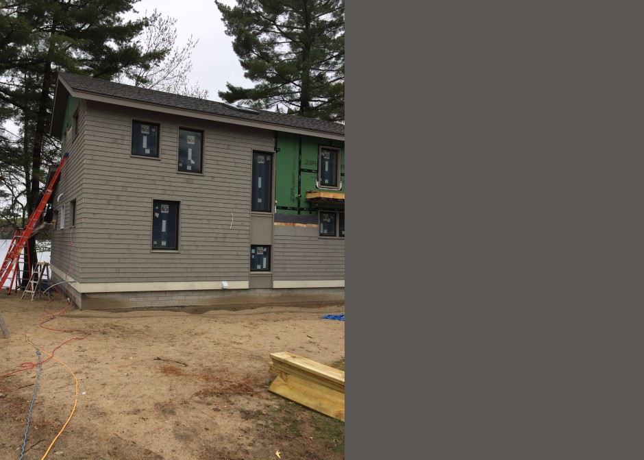 Siding installation, cedar shingles, Andersen windows, Maine Architect