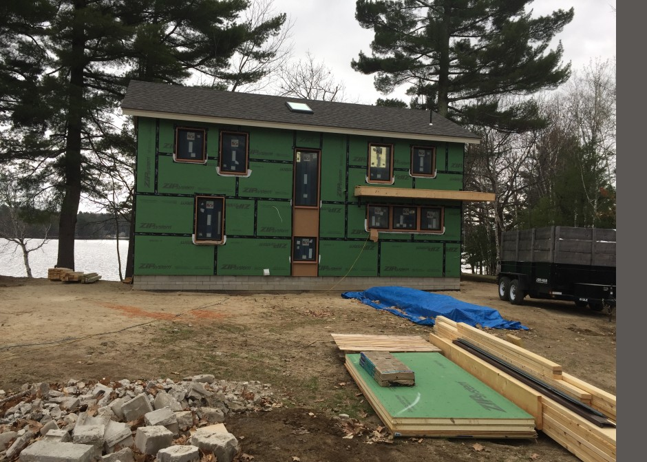 Construction Photo, Zip R-sheathing, High Energy Performance, Green Design, Maine Architect