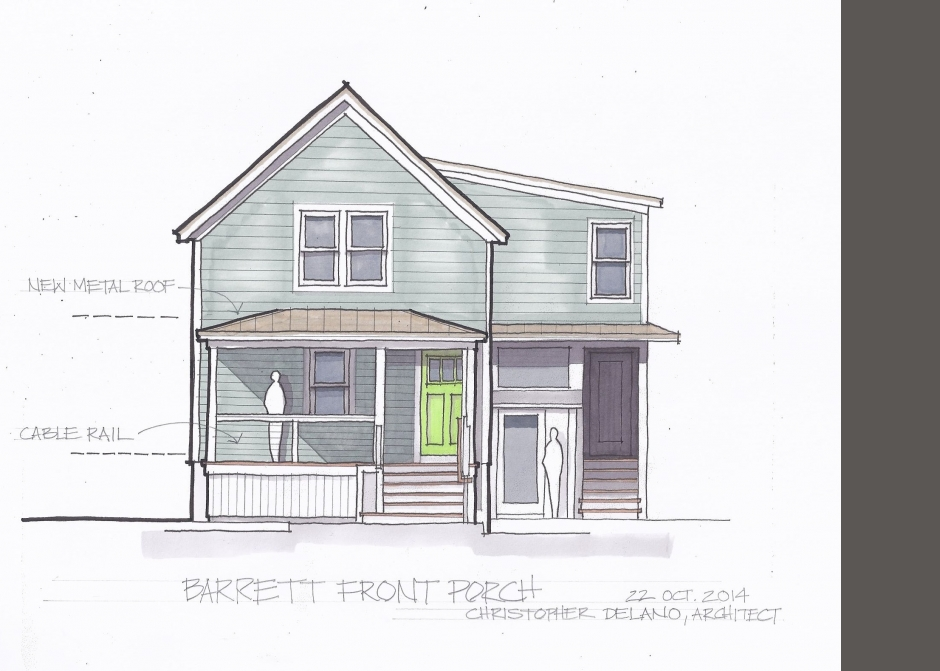 Design Rendering, Front Porch, Maine Architect