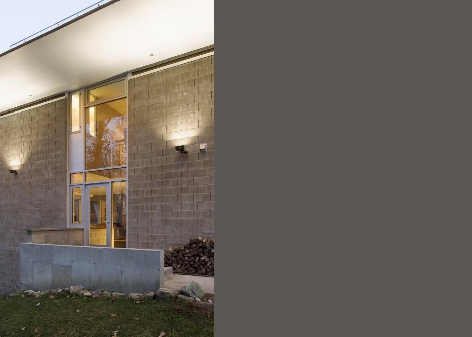 Entrance, Concrete blocks, Maine Architect, Storefront windows, uplights, concrete