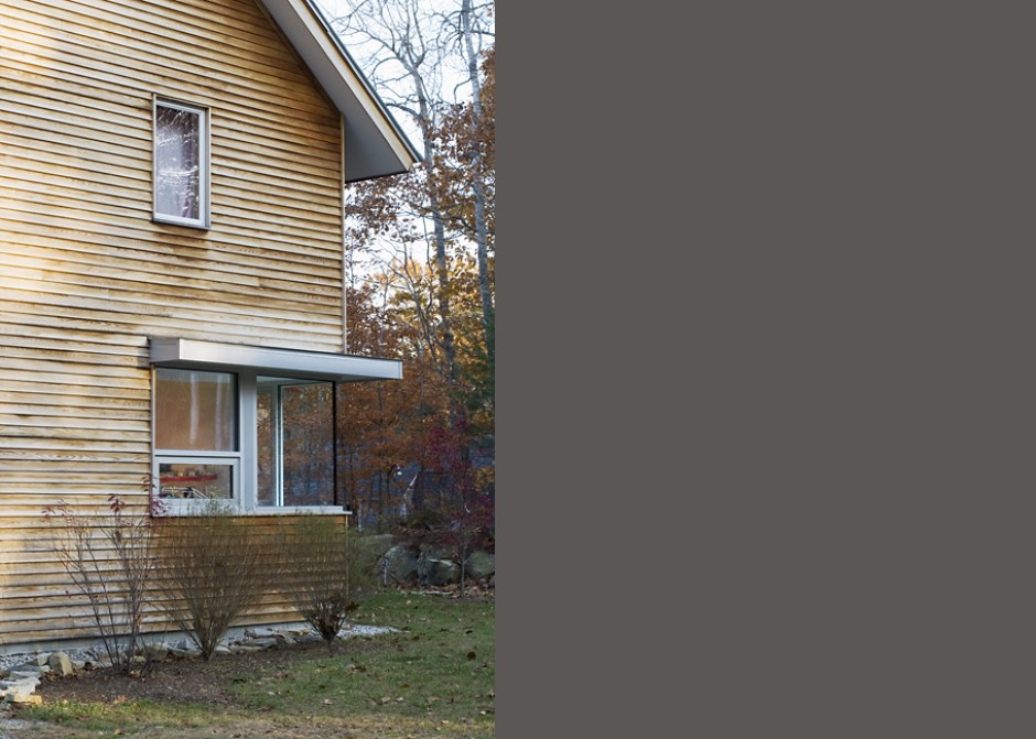 White cedar siding, Maine Architect, corner window, Waterfront Home design