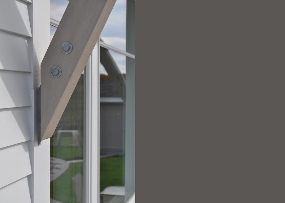 Support bracket, galvanized steel bracket, cedar bracket, Maine Architect
