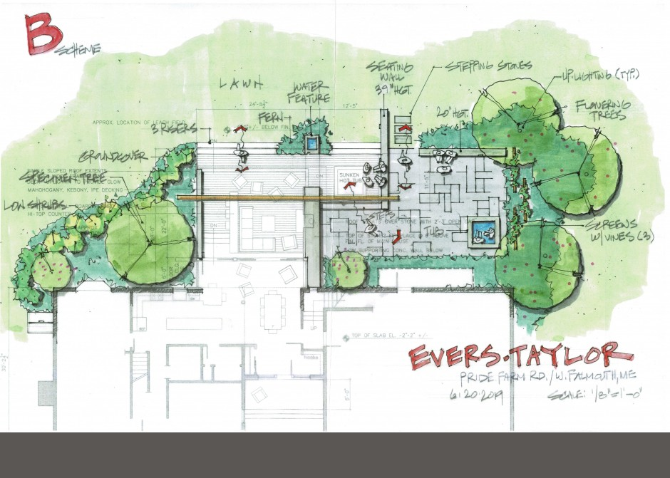 Landscape Architect, Design Rendering, Falmouth Maine