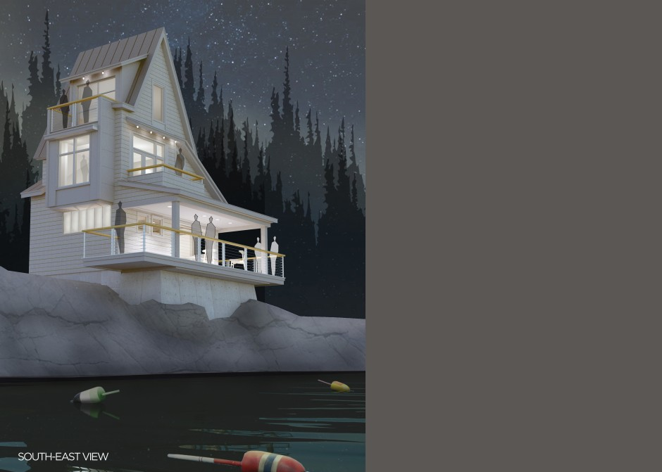 Night rendering, Maine Architect, Waterfront home, AIA unbuilt awards winner