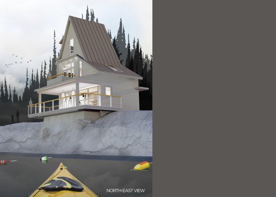 Ocean front rendering, Maine Architect, AIA unbuilt awards winner
