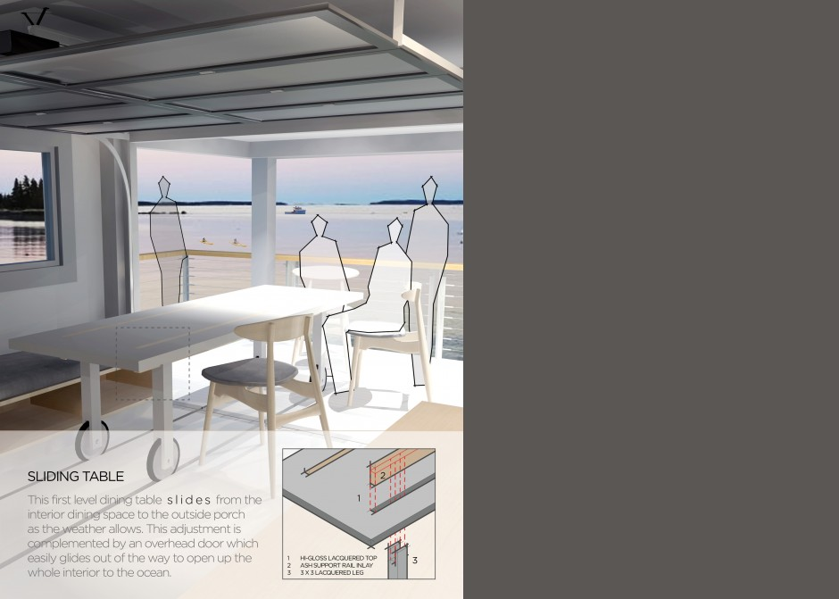ocean front rendering, Maine architect, cottage interior, sliding dining room table, sliding glass wall