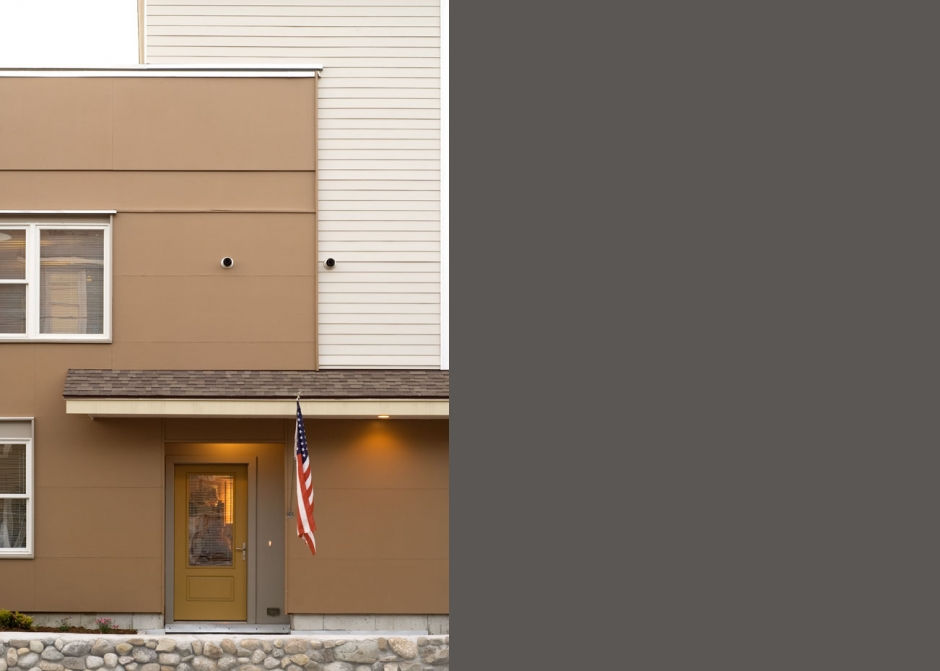 Siding, Apartments, Painted plywood