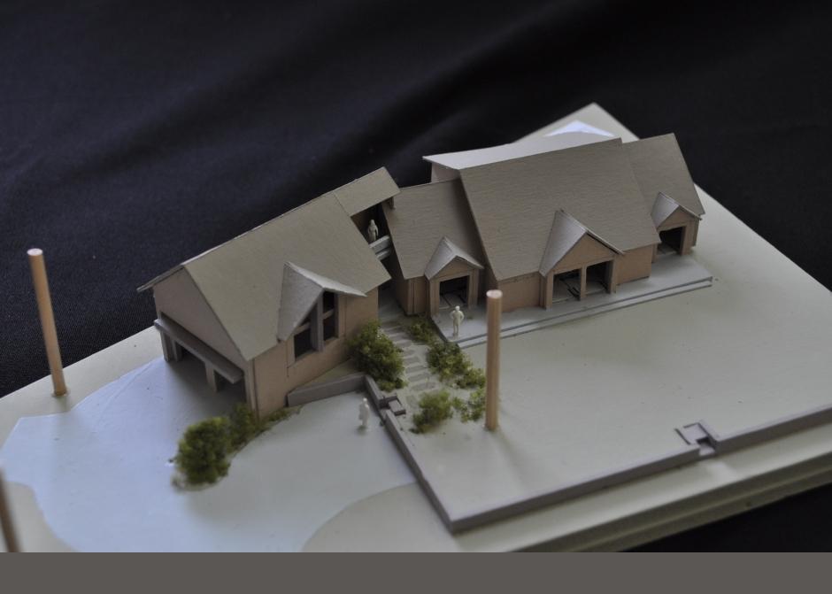 Design Model, garage addition, roof deck, Maine Architect