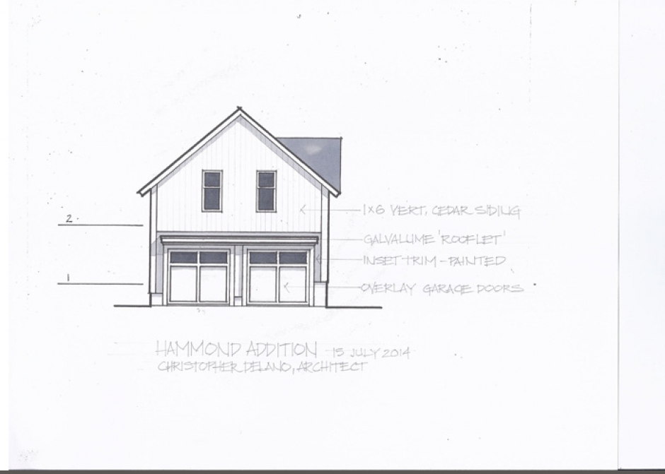 Design Rendering, garage elevation, Maine Architect, Design drawing