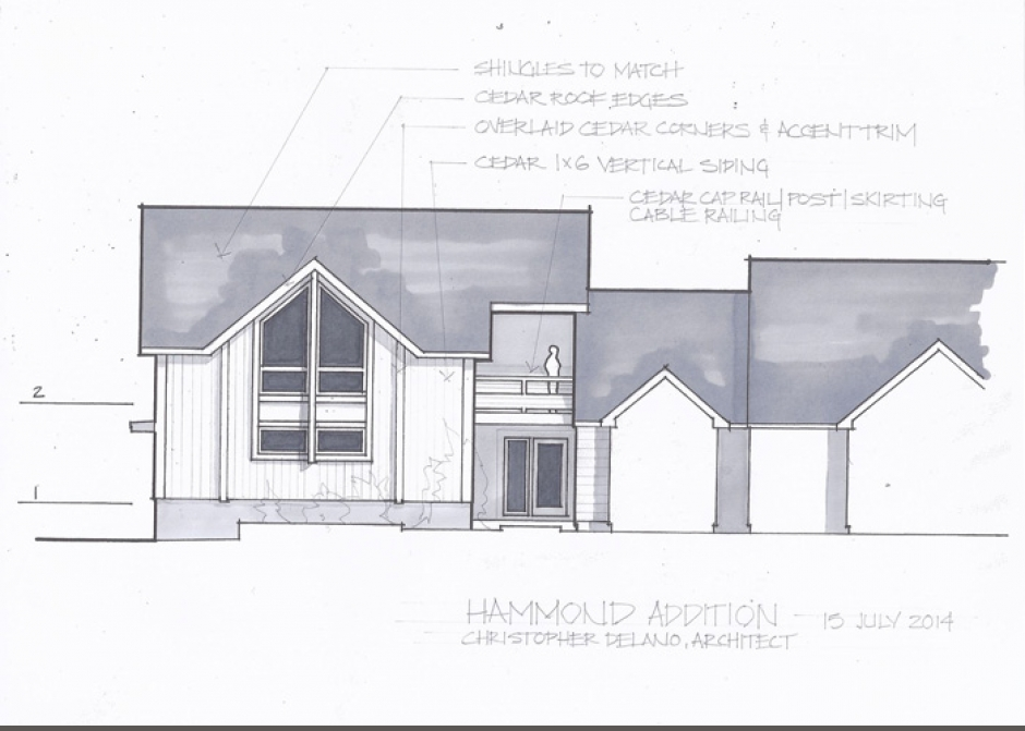 Design Rendering, garage addition, tall windows