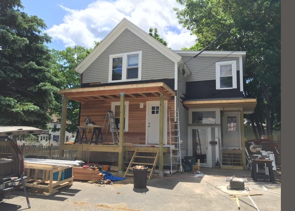 Front Porch, construction Photo, Maine Architect