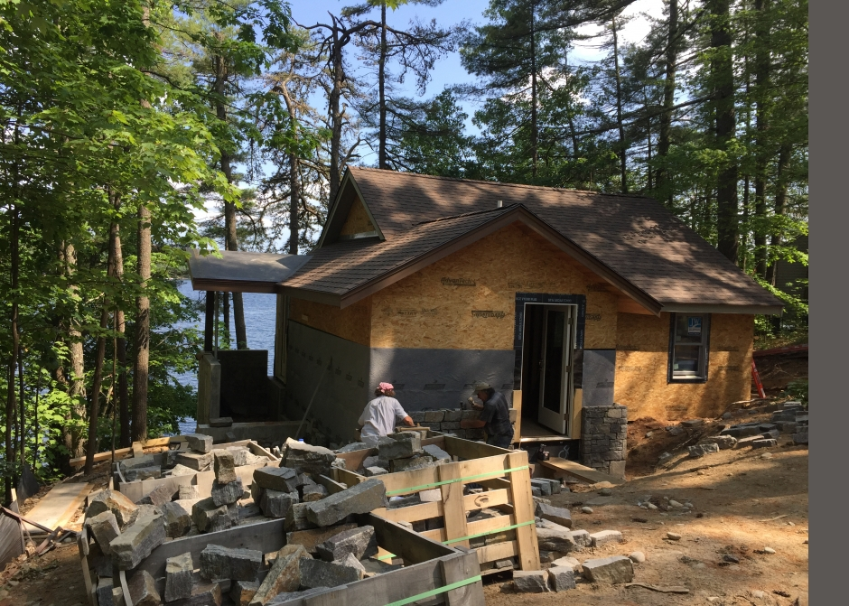 Construction Photo, Mortair Vent rainscreen, Maine Architect, stone veneer