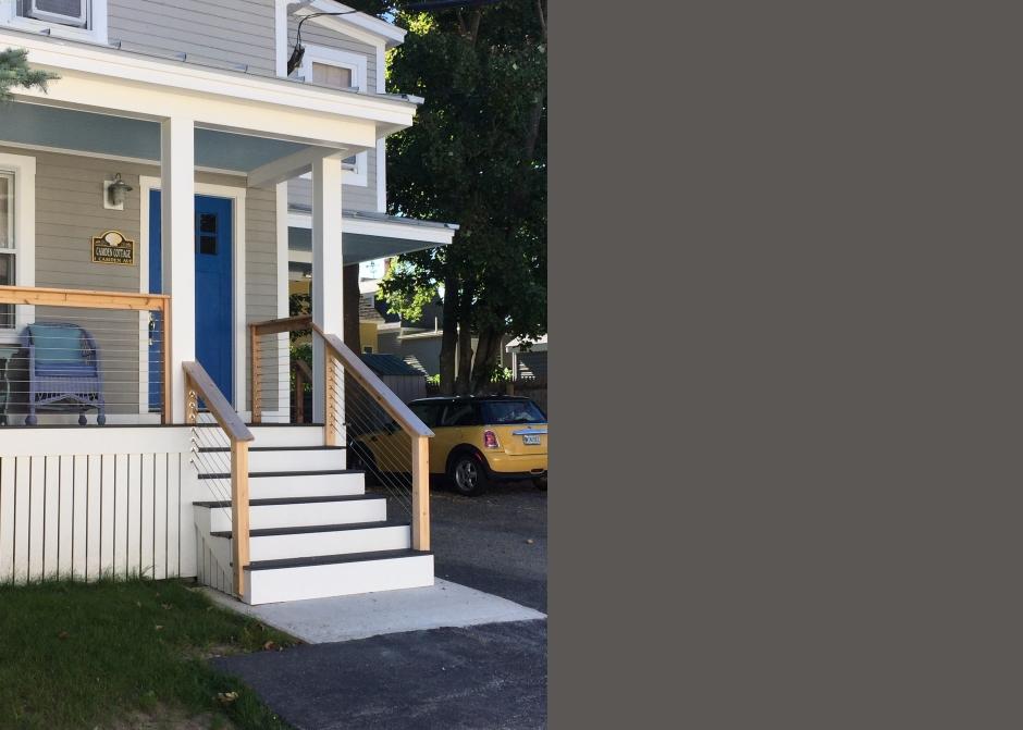 Front Porch, Cable Railing, Cedar cap, Maine Architect