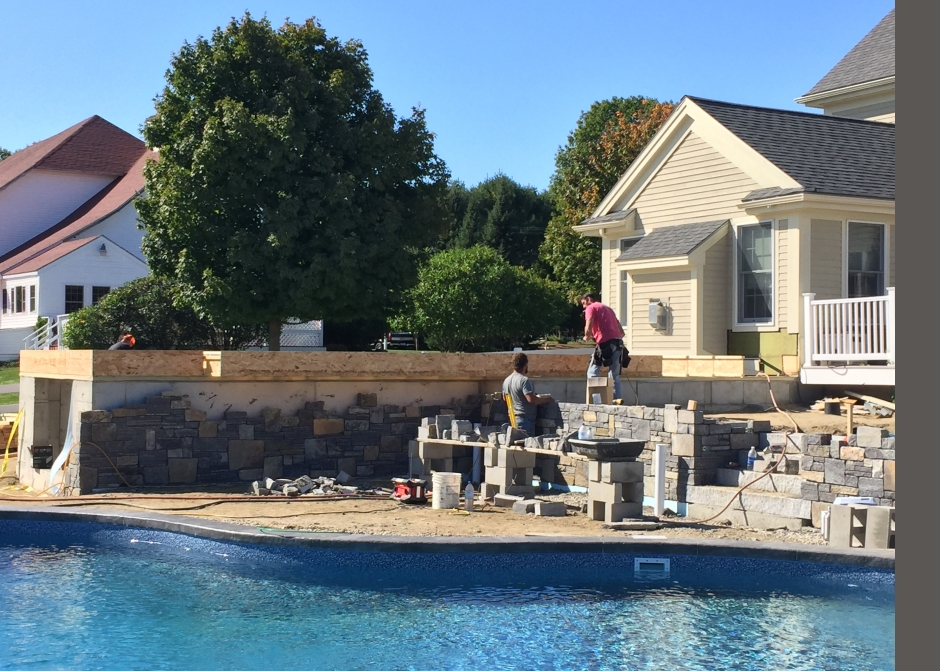 Stone walls, Anderson Landscape, Landscaping, Swimming Pool