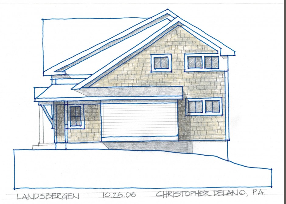 Architectural rendering, Maine cottage style, Maine architect