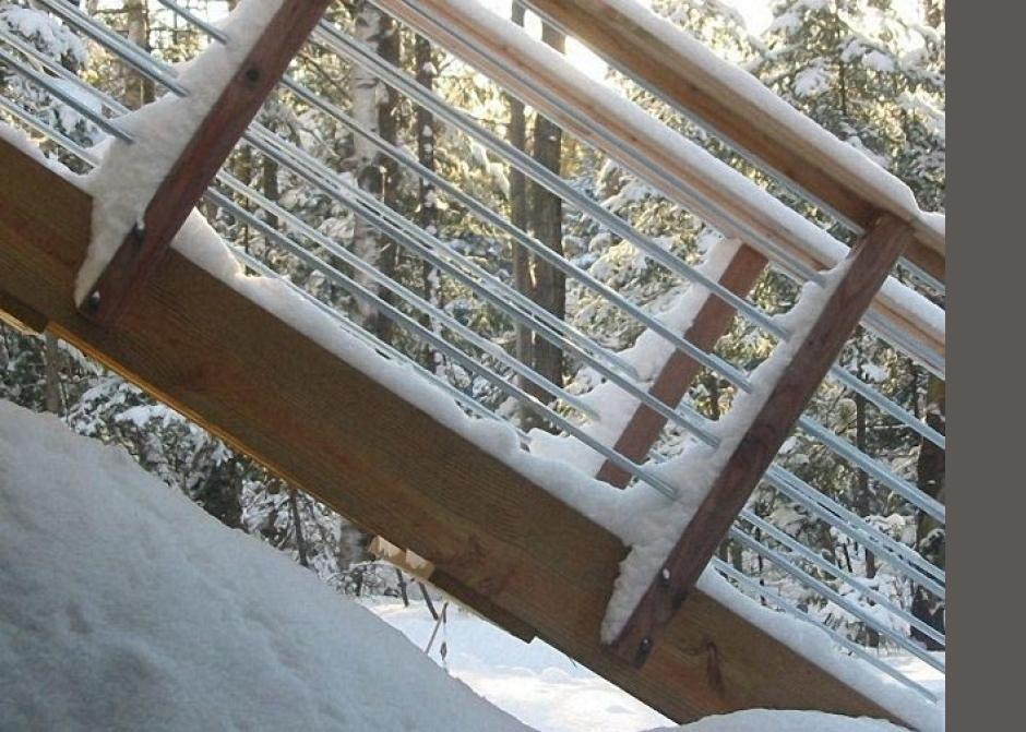 Railing detail, electrical conduit railing, Architecture