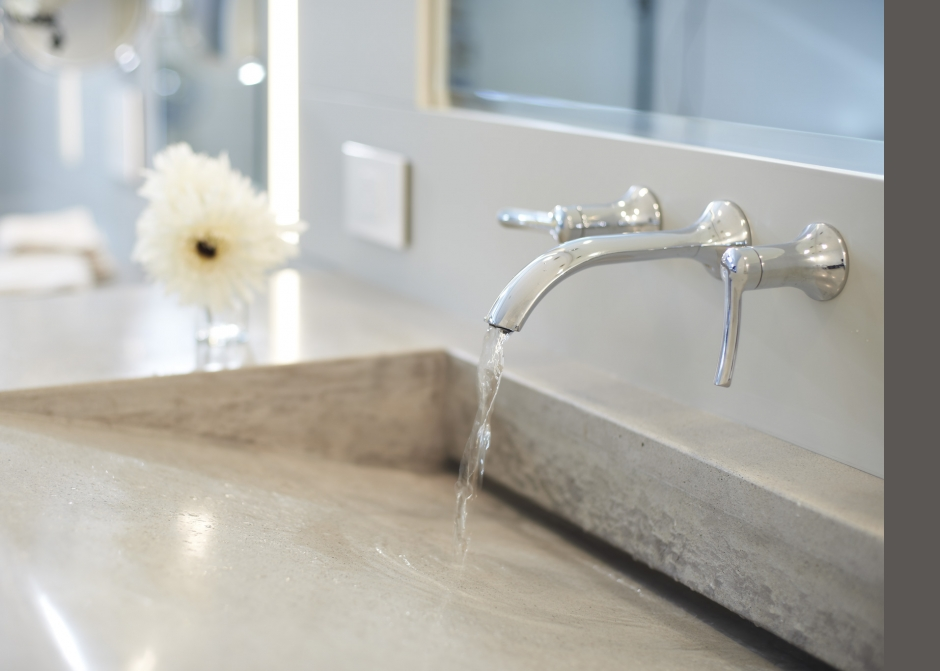 custom concrete trough sink, Maine Architect, wall mounted faucets