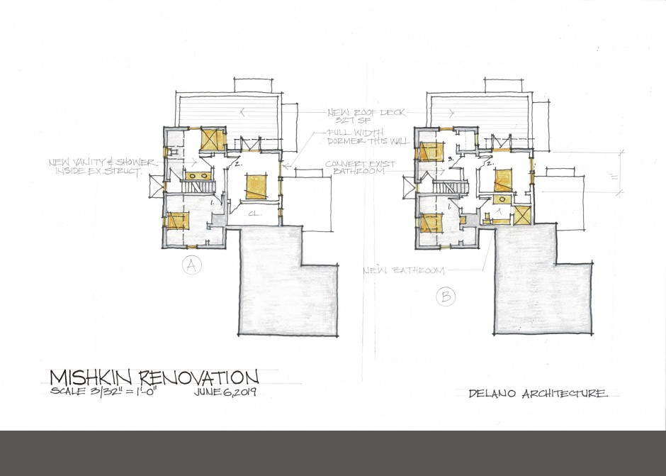 Rendered floor plan, south portland architect, rendering, second floor plan