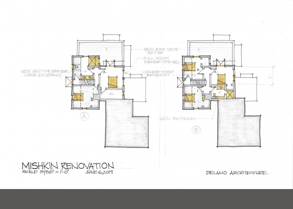 Rendered floor plan, south portland architect, rendering, second floor plan