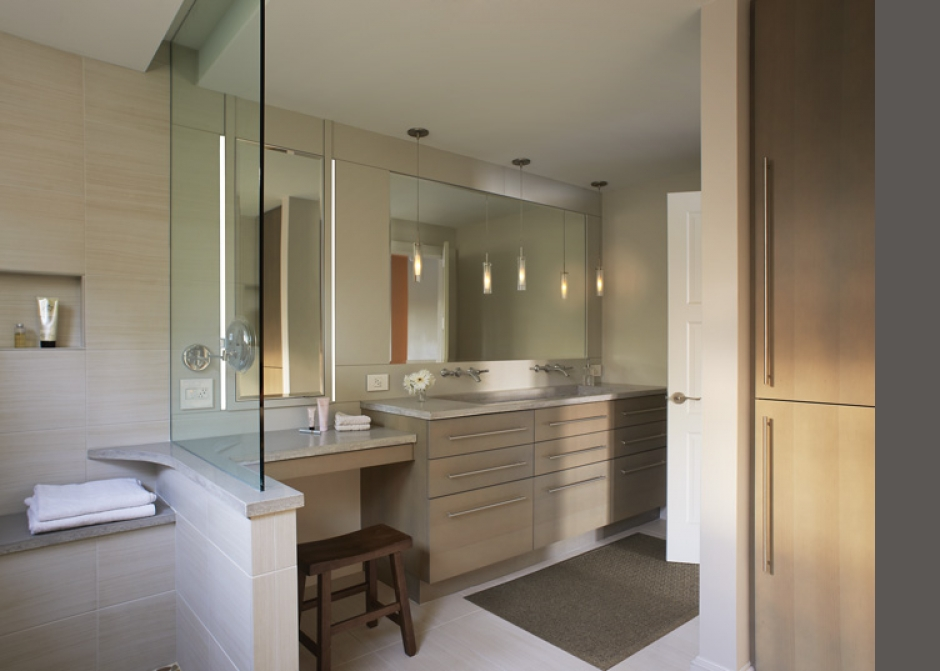 custom millwork, Glass wall, concrete counters, pendant lighting, Maine Architect, LED lighting