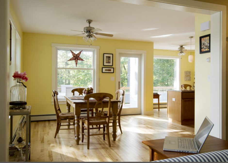 bright dining room, Maine architect, Dining Room, Yellow walls