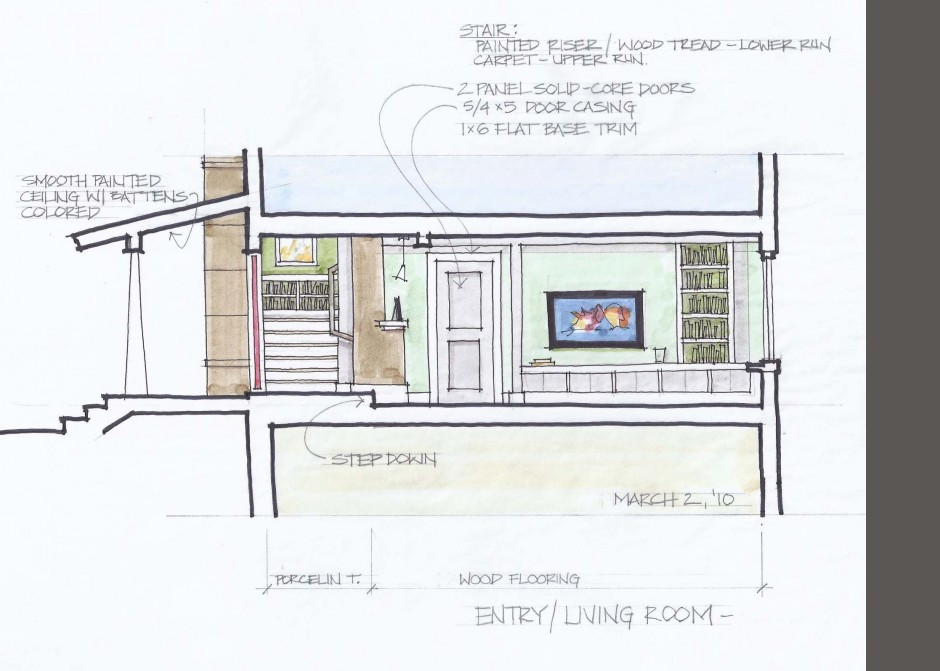 Maine Architect, Interior rendering, Fireplace rendering